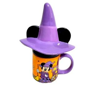 🎃Disney Halloween Minnie Mouse Witch Mug with Hat Cover/Lid New